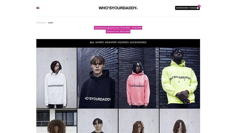 whosyourdaddy store Wunderlandmedia webdesign augsburg