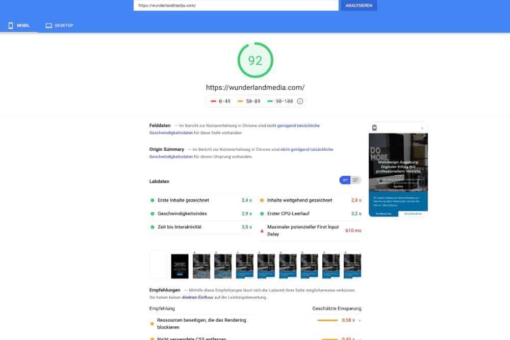 google page speed test für mobile