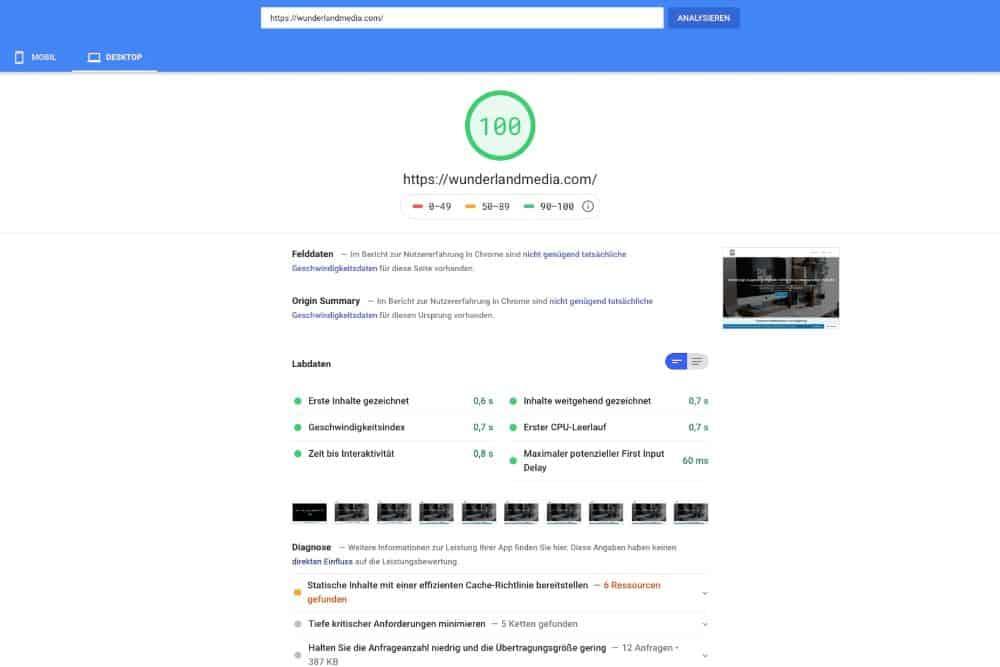 google page speed test für desktop
